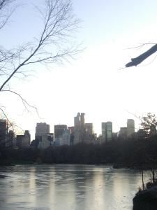 En New York no hay mar, hay dos ríos y lagos.El horizonte de las metas se dibuja con un helado pulmón a punto de erupcionar mil propósitos a modo de respiros.